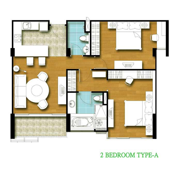 Tira Tiraa 2 Bedroom A Floor Plan